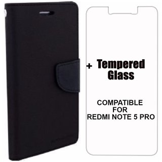 MOBIMON Mercury Diary Wallet Flip Case Cover for RedMi Note 5 PRO Black + Tempered Glass Premium Quality