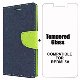 MOBIMON Mercury Diary Wallet Flip Case Cover for RedMi 5A Blue + Tempered Glass Premium Quality