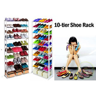 Amazing Portable Shoe Rack Organiser Shoe Stand With 10 Layer Holds 30 Pairs Shoes - AMZSR