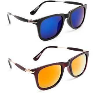 f0c089a7c9be TheWhoop Combo UV Protected New Trendy Stylish Mirror Blue And Orange Brown  Goggle Wayfarer Sunglasses For Men, Women, G