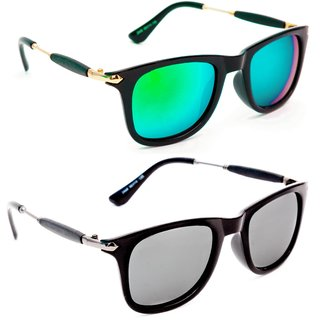 3c838d42d12 Buy TheWhoop Combo New Stylish Mirror Green And Silver Goggle Wayfarer  Sunglasses For Men