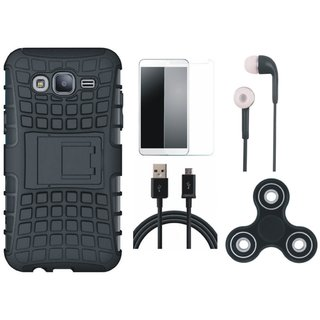 Vivo V7 Defender Tough Hybrid Shockproof Cover with Spinner, Tempered Glass, Earphones and USB Cable