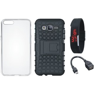 Vivo V7 Defender Tough Armour Shockproof Cover with Silicon Back Cover, Digital Watch and OTG Cable