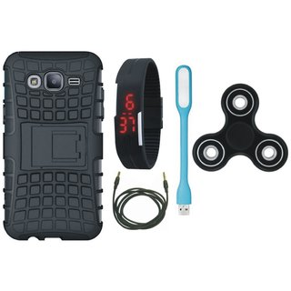 Vivo V7 Defender Tough Armour Shockproof Cover with Spinner, Digital Watch, USB LED Light and AUX Cable