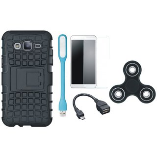 Vivo V7 Defender Tough Armour Shockproof Cover with Spinner, Tempered Glass, USB LED Light and OTG Cable