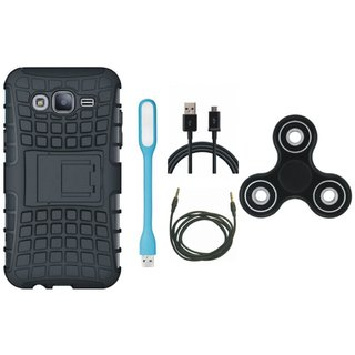 Vivo V7 Defender Tough Armour Shockproof Cover with Spinner, USB LED Light, USB Cable and AUX Cable