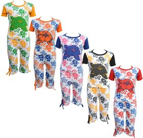 Eazy Trendz Baby Girls Mindblowing Floral Printed Half Sleeve Top  Bottom Tshirt and Capri Super Set of 5