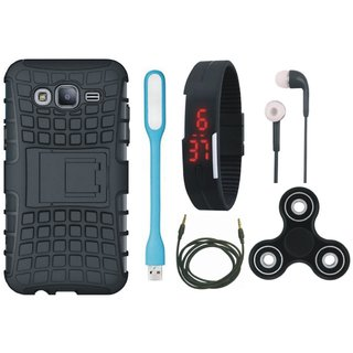 Vivo V7 Defender Tough Armour Shockproof Cover with Spinner, Digital Watch, Earphones, USB LED Light and AUX Cable