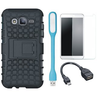 Vivo V7 Shockproof Tough Armour Defender Case with Tempered Glass, USB LED Light and OTG Cable