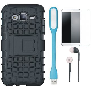 Vivo V7 Shockproof Tough Armour Defender Case with Tempered Glass, Earphones and USB LED Light