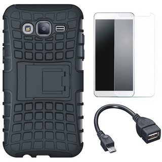 Vivo V7 Shockproof Tough Armour Defender Case with Tempered Glass and OTG Cable