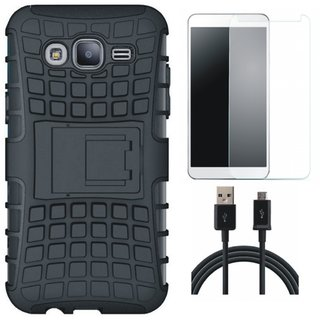 Vivo V7 Shockproof Tough Armour Defender Case with Tempered Glass and USB Cable