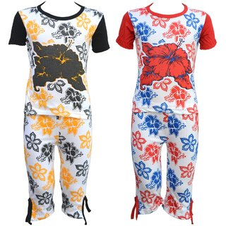 Eazy Trendz Baby Girls Mindblowing Floral Printed Half Sleeve Top  Bottom Tshirt and Capri Super Set of 2