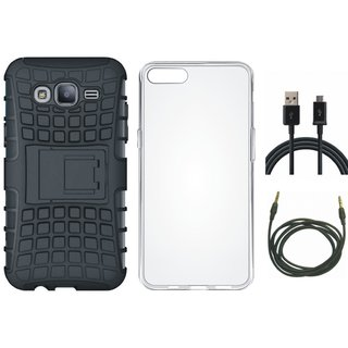 Vivo V7 Shockproof Tough Armour Defender Case with Silicon Back Cover, USB Cable and AUX Cable