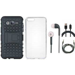 Vivo V7 Shockproof Tough Armour Defender Case with Silicon Back Cover, Earphones, USB Cable and AUX Cable