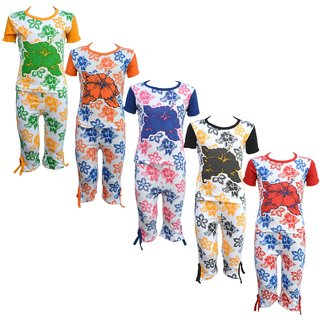 Eazy Trendz Girls Mindblowing Floral Printed Half Sleeve Top  Bottom Tshirt and Capri Super Set of 5