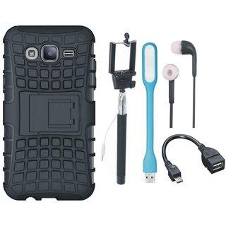 Vivo V7 Shockproof Tough Armour Defender Case with Selfie Stick, Earphones, OTG Cable and USB LED Light