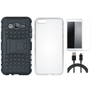 Vivo V7 Shockproof Tough Armour Defender Case with Silicon Back Cover, Tempered Glass and USB Cable