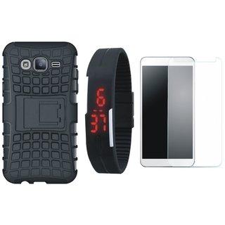 Vivo V7 Shockproof Kick Stand Defender Back Cover with Free Digital LED Watch, Tempered Glass and LED Light