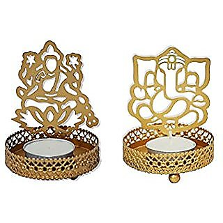 Satya Mart Shadow Ganesh Laxmi Ji Steel Tea Light Holder (7 cm x 7 cm x 10 cm)Without Candle