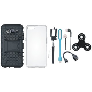Vivo V7 Defender Back Cover with Kick Stand with Spinner, Silicon Back Cover, Selfie Stick, Earphones, OTG Cable and USB LED Light
