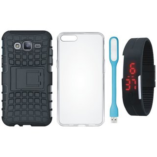 Vivo V7 Shockproof Tough Defender Cover with Silicon Back Cover, Digital Watch and USB LED Light