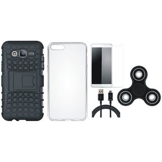 Vivo Y55s Defender Tough Hybrid Shockproof Cover with Spinner, Silicon Back Cover, Tempered Glass and USB Cable