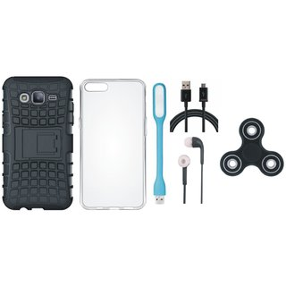 Vivo Y55s Defender Tough Armour Shockproof Cover with Spinner, Silicon Back Cover, Earphones, USB LED Light and USB Cable