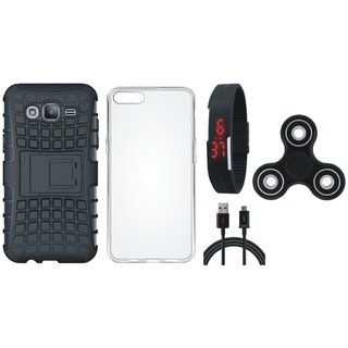Vivo V7 Plus Shockproof Kick Stand Defender Back Cover with Spinner, Silicon Back Cover, Digital Watch and USB Cable