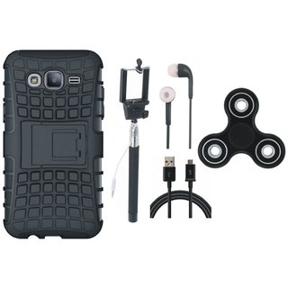 Vivo V7 Plus Shockproof Kick Stand Defender Back Cover with Spinner, Selfie Stick, Earphones and USB Cable