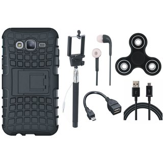 Vivo V7 Plus Shockproof Kick Stand Defender Back Cover with Spinner, Selfie Stick, Earphones, OTG Cable and USB Cable