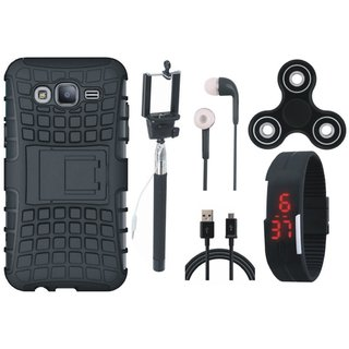 Vivo V7 Plus Shockproof Kick Stand Defender Back Cover with Spinner, Selfie Stick, Digtal Watch, Earphones and USB Cable