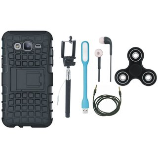 Vivo V7 Plus Shockproof Kick Stand Defender Back Cover with Spinner, Selfie Stick, Earphones, USB LED Light and AUX Cable