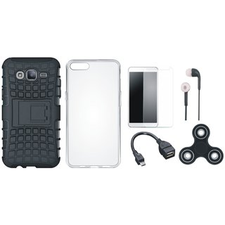 Vivo V7 Plus Shockproof Kick Stand Defender Back Cover with Spinner, Silicon Back Cover, Tempered Glass, Earphones and OTG Cable