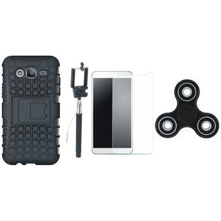 Vivo V7 Plus Shockproof Kick Stand Defender Back Cover with Free Spinner, Selfie Stick and Tempered Glass