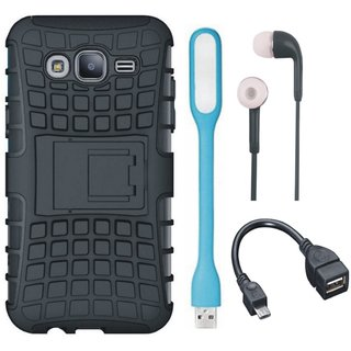 Vivo Y55s Shockproof Kick Stand Defender Back Cover with Earphones, USB LED Light and OTG Cable