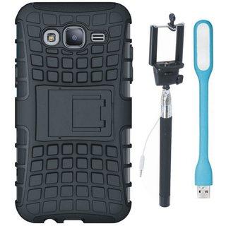 Vivo V7 Plus Shockproof Tough Defender Cover with Selfie Stick and USB LED Light