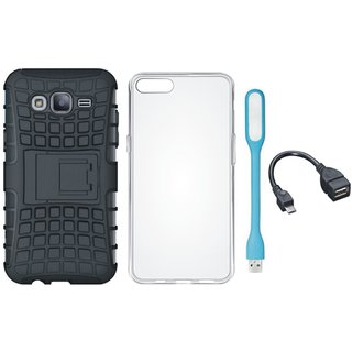 Vivo V7 Plus Shockproof Tough Defender Cover with Silicon Back Cover, USB LED Light and OTG Cable