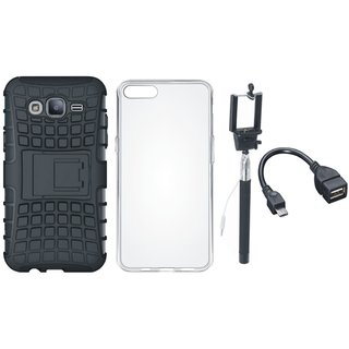 Vivo V7 Plus Shockproof Tough Defender Cover with Silicon Back Cover, Selfie Stick and OTG Cable