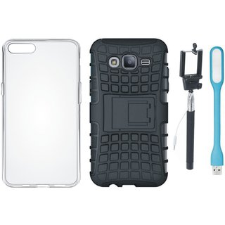 Vivo V7 Plus Shockproof Tough Defender Cover with Silicon Back Cover, Selfie Stick and USB LED Light