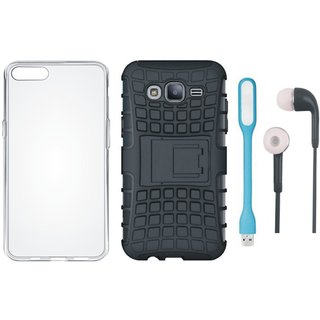 Vivo V7 Plus Shockproof Tough Defender Cover with Silicon Back Cover, Earphones and USB LED Light