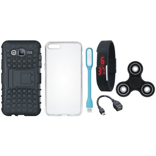 Vivo Y55s Dual Protection Defender Back Case with Spinner, Silicon Back Cover, Digital Watch, OTG Cable and USB LED Light