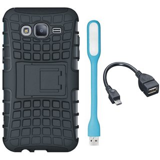 Moto C Plus Defender Tough Armour Shockproof Cover with USB LED Light and OTG Cable