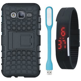 Moto C Plus Defender Tough Armour Shockproof Cover with Digital Watch and USB LED Light