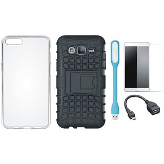 Moto C Plus Shockproof Tough Armour Defender Case with Silicon Back Cover, Tempered Glass, USB LED Light and OTG Cable