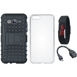Moto C Plus Shockproof Kick Stand Defender Back Cover with Silicon Back Cover, Digital Watch and OTG Cable