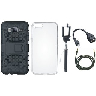 Moto C Plus Shockproof Kick Stand Defender Back Cover with Silicon Back Cover, Selfie Stick, OTG Cable and AUX Cable