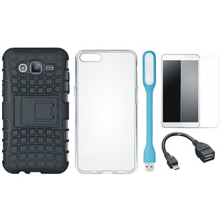 Moto C Plus Shockproof Kick Stand Defender Back Cover with Silicon Back Cover, Tempered Glass, USB LED Light and OTG Cable