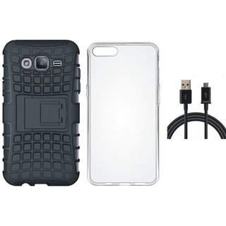 Moto C Plus Shockproof Kick Stand Defender Back Cover with Silicon Back Cover, USB Cable