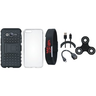 Moto E4 Defender Tough Armour Shockproof Cover with Spinner, Silicon Back Cover, Digital Watch, OTG Cable and USB Cable
